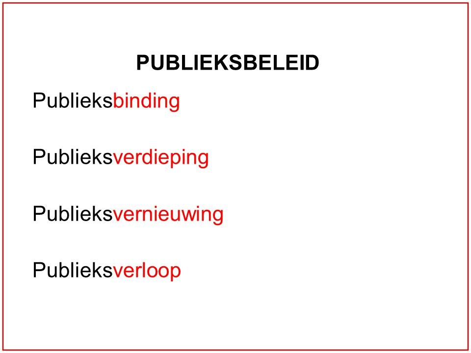 PUBLIEKSBELEID Publieksbinding Publieksverdieping Publieksvernieuwing Publieksverloop