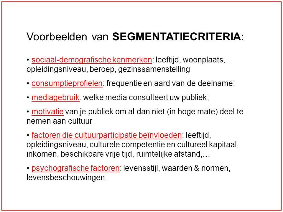 Voorbeelden van SEGMENTATIECRITERIA:
