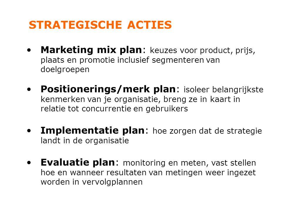 STRATEGISCHE ACTIES Marketing mix plan: keuzes voor product, prijs, plaats en promotie inclusief segmenteren van doelgroepen.