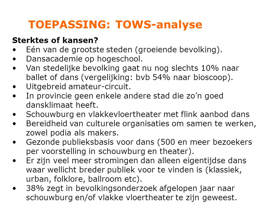 TOEPASSING: TOWS-analyse