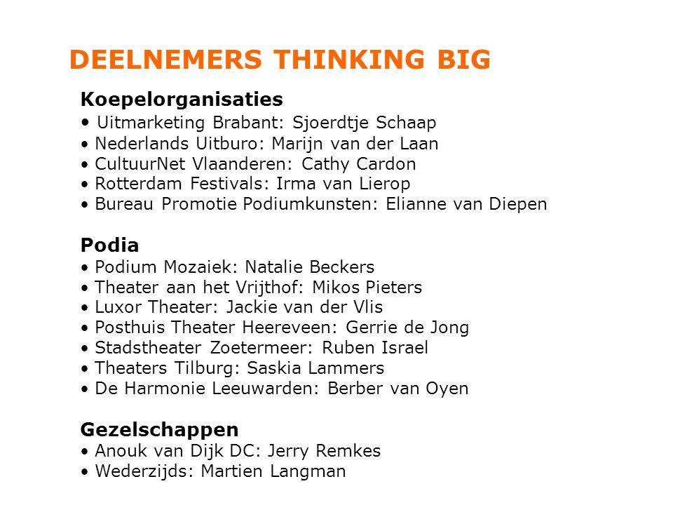 DEELNEMERS THINKING BIG