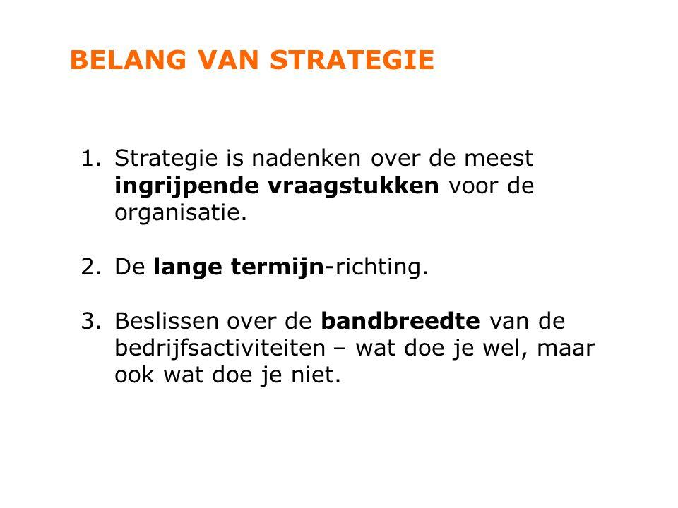 BELANG VAN STRATEGIE Strategie is nadenken over de meest ingrijpende vraagstukken voor de organisatie.