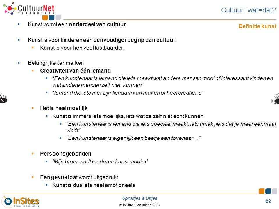Cultuur: wat=dat Kunst vormt een onderdeel van cultuur