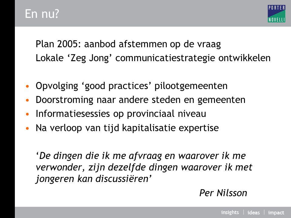 En nu Plan 2005: aanbod afstemmen op de vraag