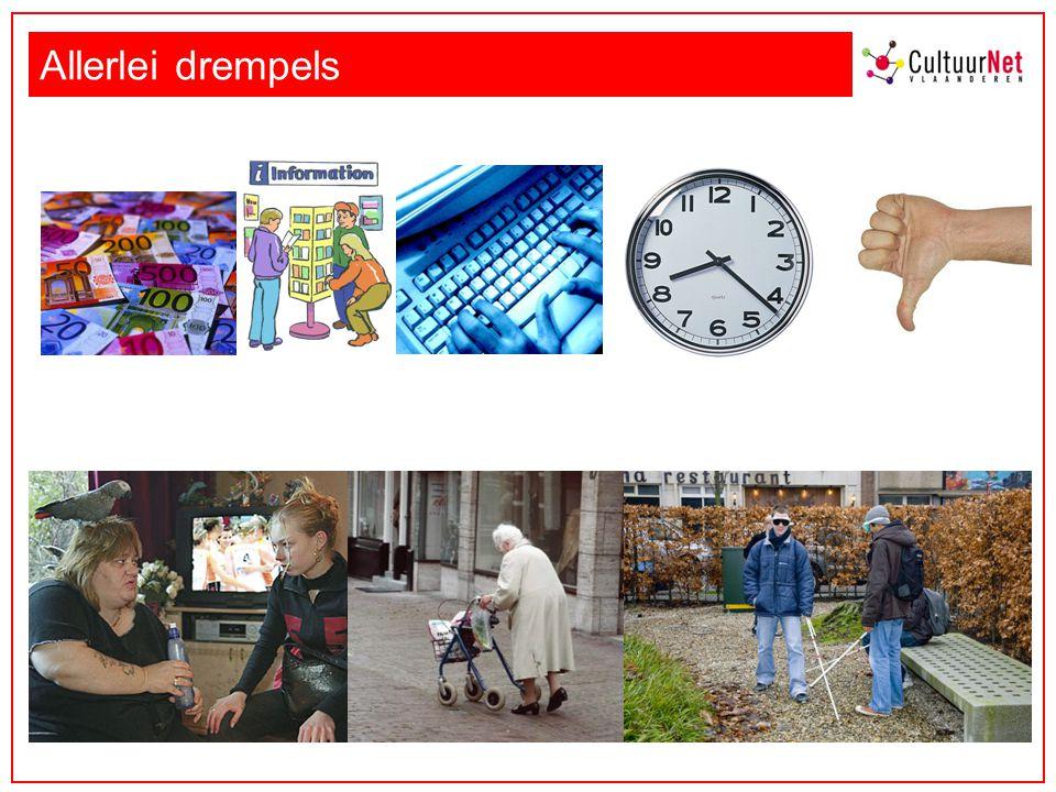 Allerlei drempels Informatiedrempel: bv. Stadspas Amsterdam, UiTpas Mechelen… Sociale drempel: bv kansenpas Aalst.