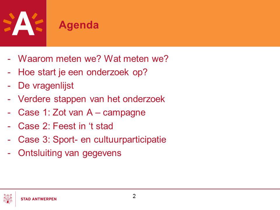 Agenda Waarom meten we Wat meten we Hoe start je een onderzoek op