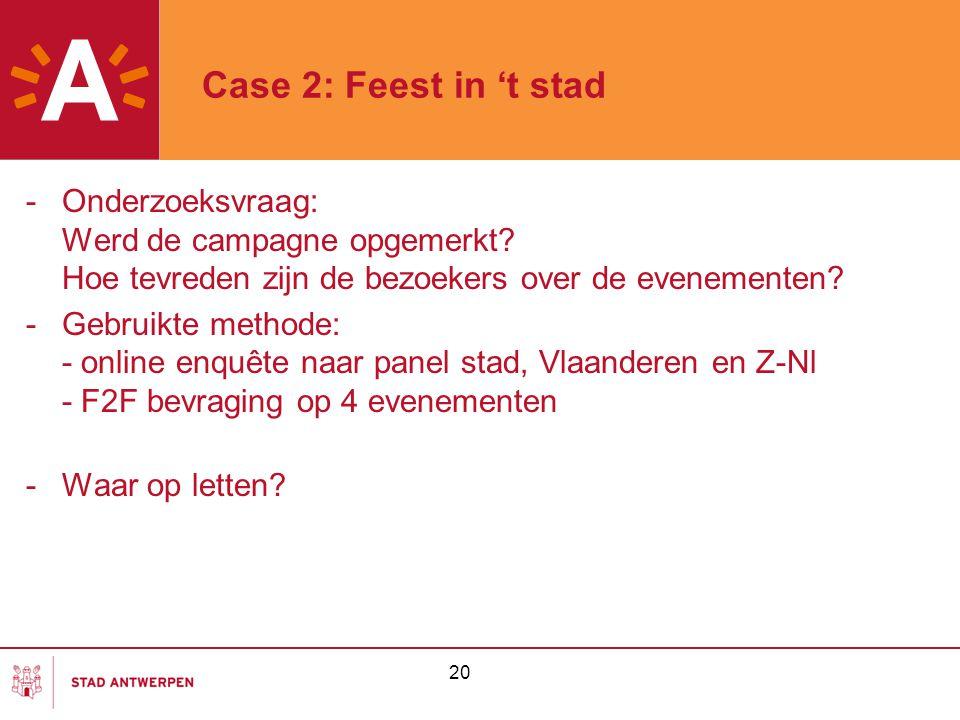 Case 2: Feest in 't stad Onderzoeksvraag: Werd de campagne opgemerkt Hoe tevreden zijn de bezoekers over de evenementen