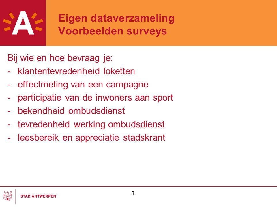 Eigen dataverzameling Voorbeelden surveys