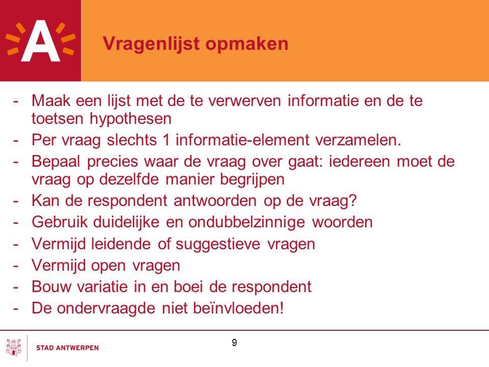 Vragenlijst opmaken Maak een lijst met de te verwerven informatie en de te toetsen hypothesen. Per vraag slechts 1 informatie-element verzamelen.