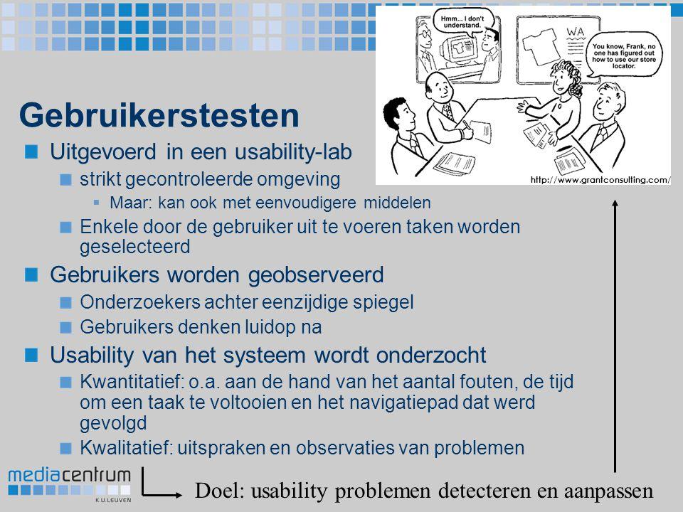 Gebruikerstesten Uitgevoerd in een usability-lab