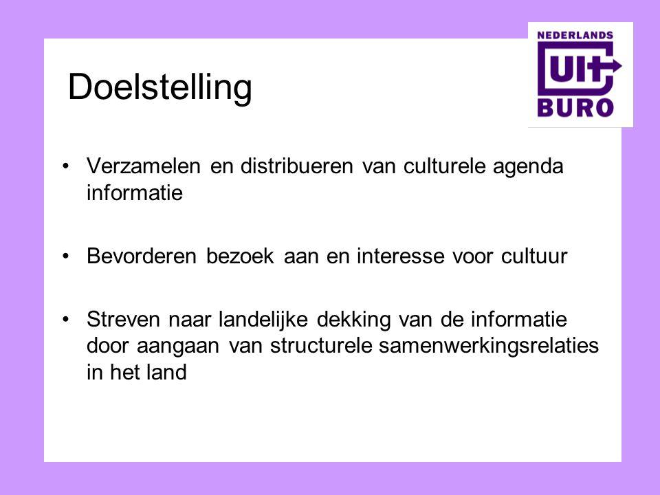Doelstelling Verzamelen en distribueren van culturele agenda informatie. Bevorderen bezoek aan en interesse voor cultuur.