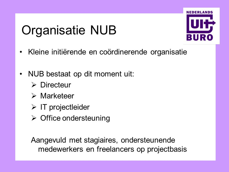 Organisatie NUB Kleine initiërende en coördinerende organisatie
