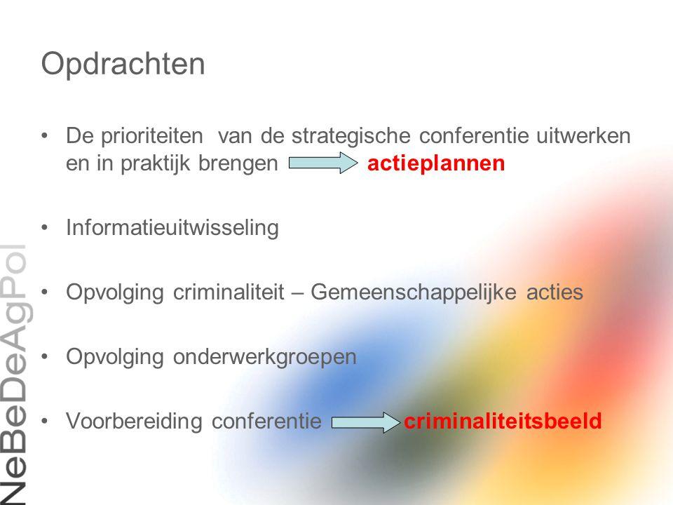 Opdrachten De prioriteiten van de strategische conferentie uitwerken en in praktijk brengen actieplannen.