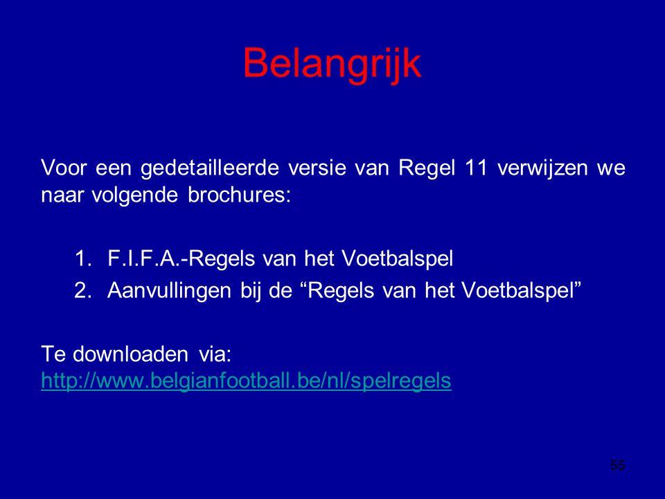 Belangrijk Voor een gedetailleerde versie van Regel 11 verwijzen we naar volgende brochures: F.I.F.A.-Regels van het Voetbalspel.
