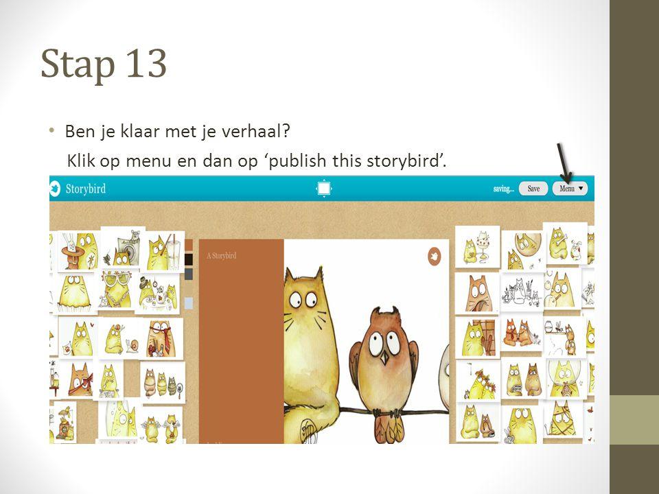 Stap 13 Ben je klaar met je verhaal