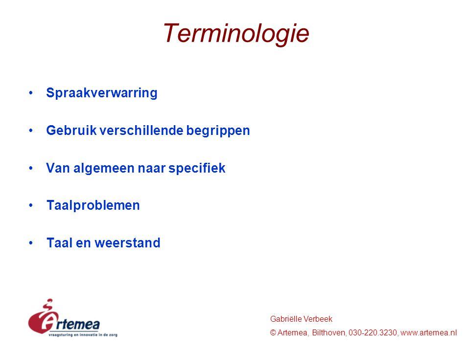 Terminologie Spraakverwarring Gebruik verschillende begrippen