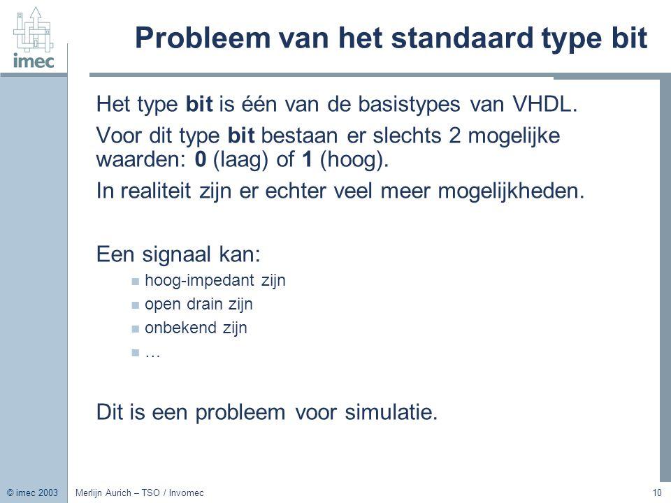 Probleem van het standaard type bit