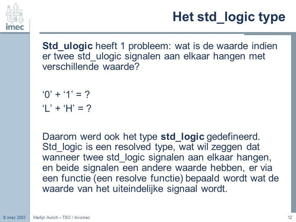Het std_logic type Std_ulogic heeft 1 probleem: wat is de waarde indien er twee std_ulogic signalen aan elkaar hangen met verschillende waarde
