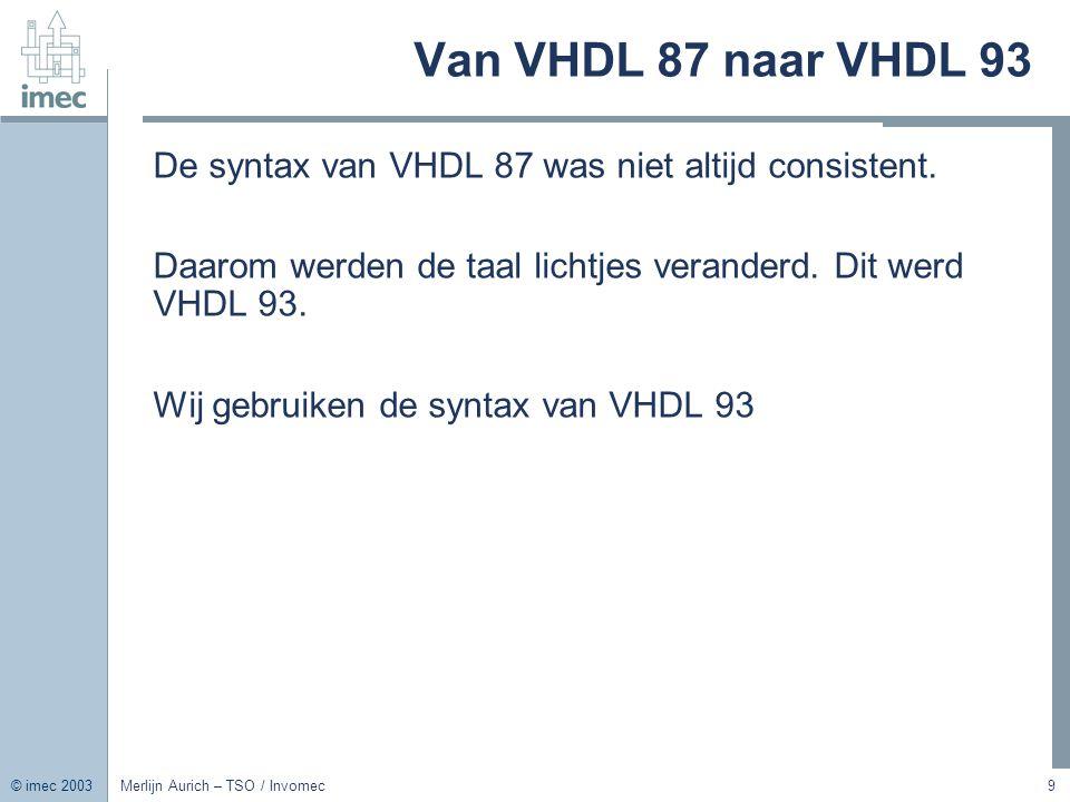 Van VHDL 87 naar VHDL 93 De syntax van VHDL 87 was niet altijd consistent. Daarom werden de taal lichtjes veranderd. Dit werd VHDL 93.