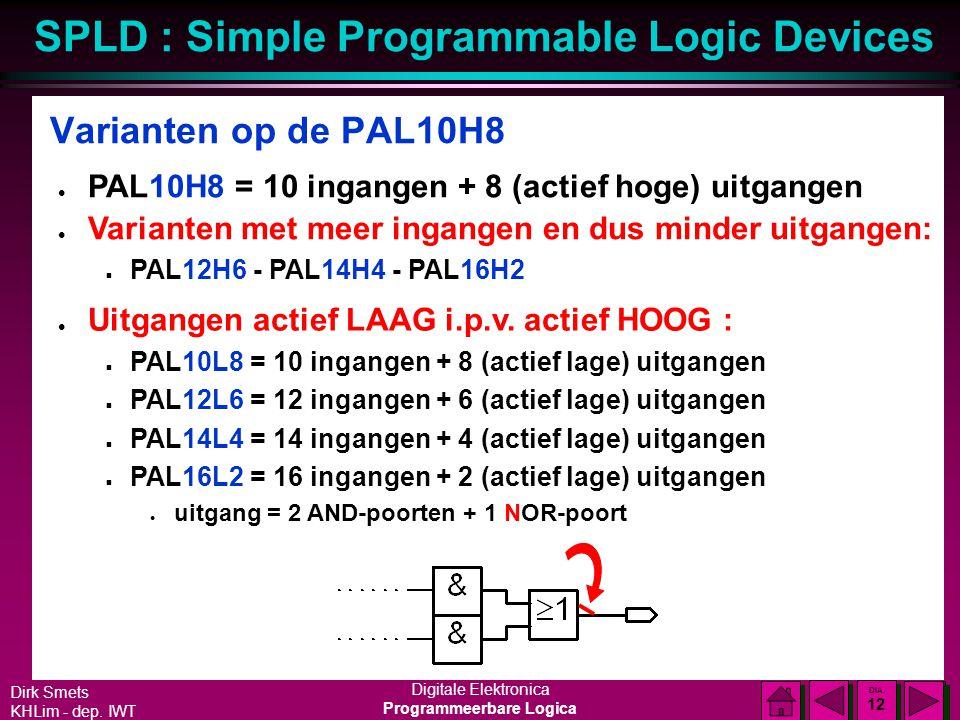 Varianten op de PAL10H8 PAL10H8 = 10 ingangen + 8 (actief hoge) uitgangen. Varianten met meer ingangen en dus minder uitgangen: