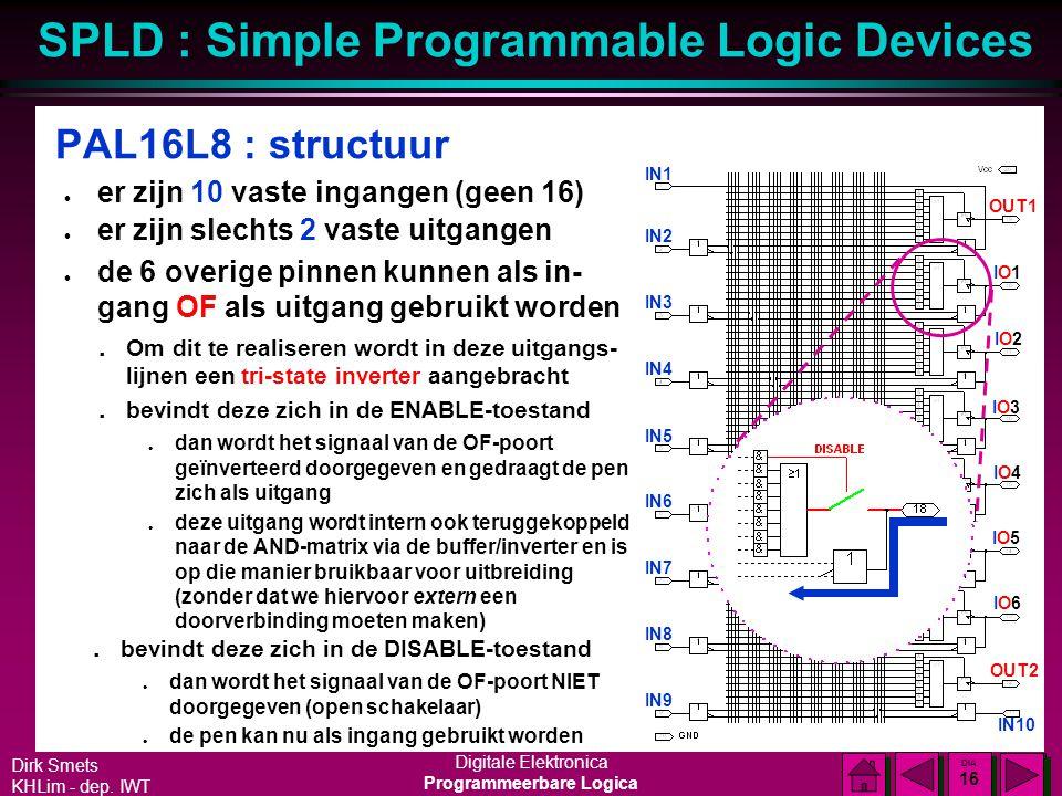 PAL16L8 : structuur er zijn 10 vaste ingangen (geen 16)
