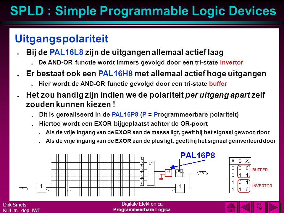 Uitgangspolariteit Bij de PAL16L8 zijn de uitgangen allemaal actief laag. De AND-OR functie wordt immers gevolgd door een tri-state invertor.