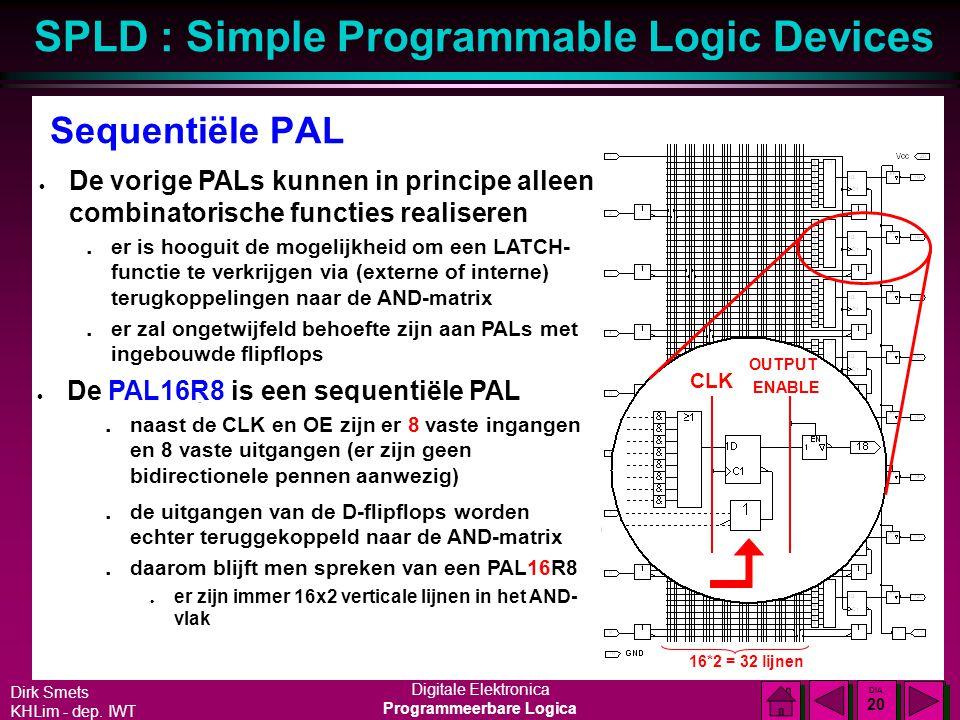 Sequentiële PAL De vorige PALs kunnen in principe alleen combinatorische functies realiseren.