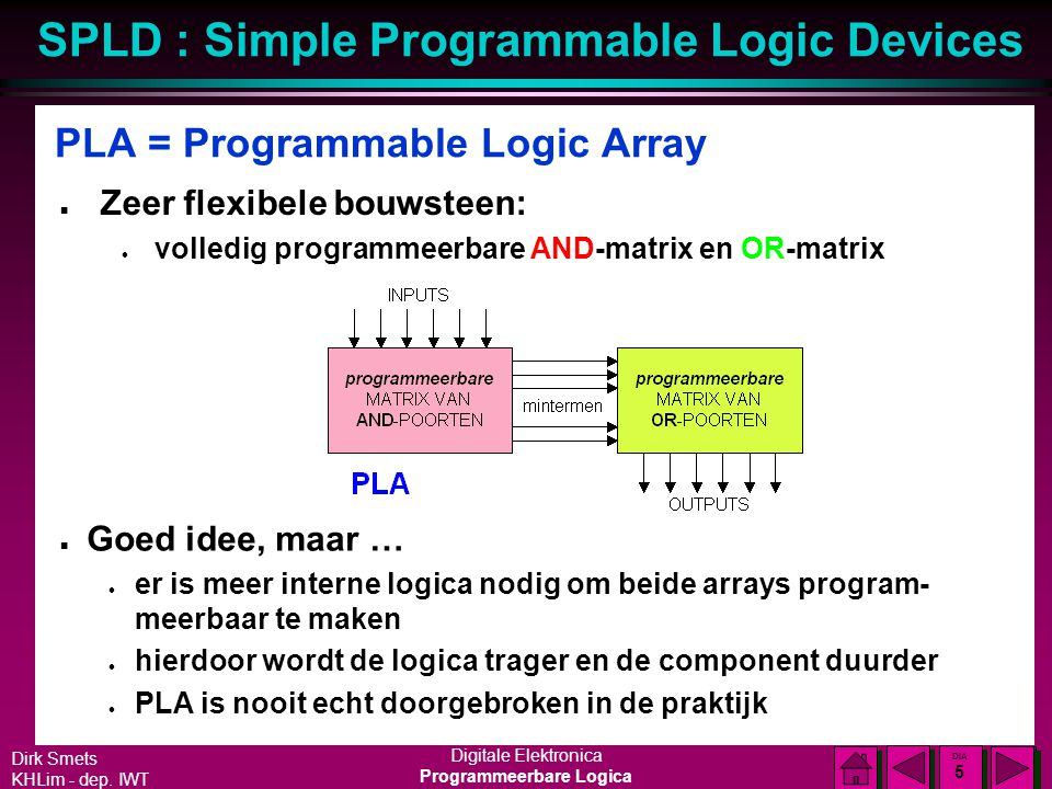 PLA = Programmable Logic Array