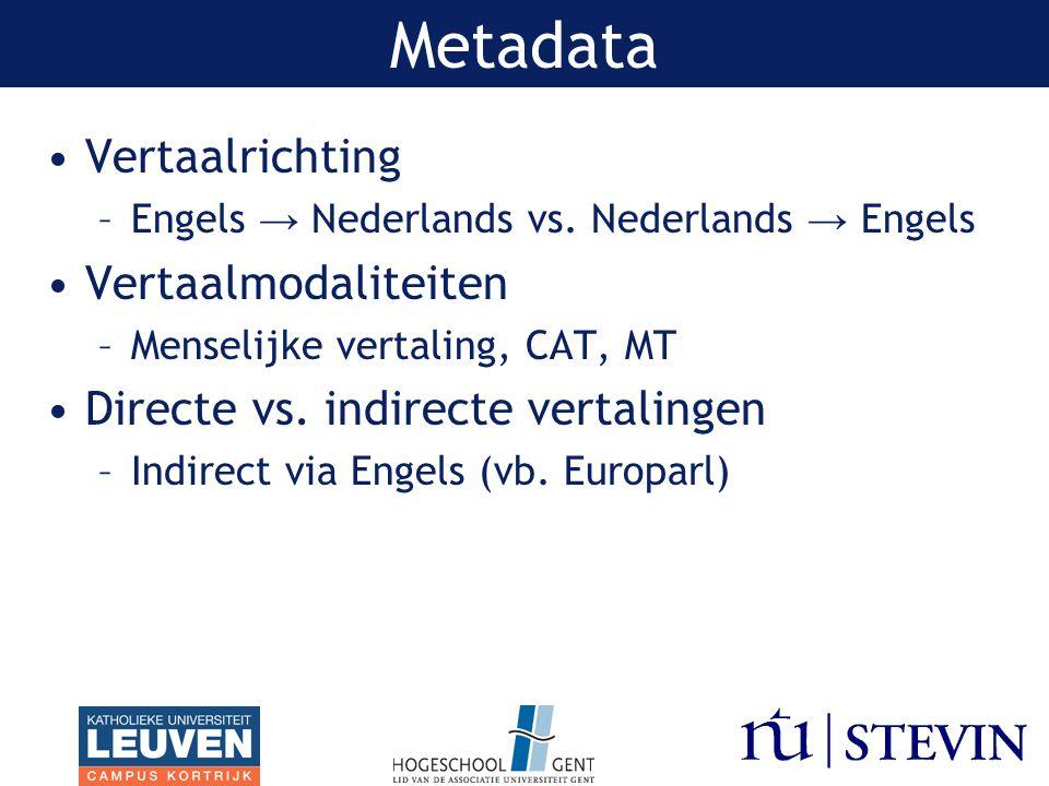 Metadata Vertaalrichting Vertaalmodaliteiten