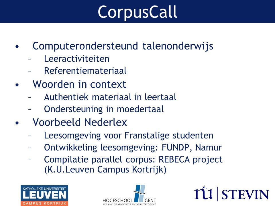 CorpusCall Computerondersteund talenonderwijs Woorden in context