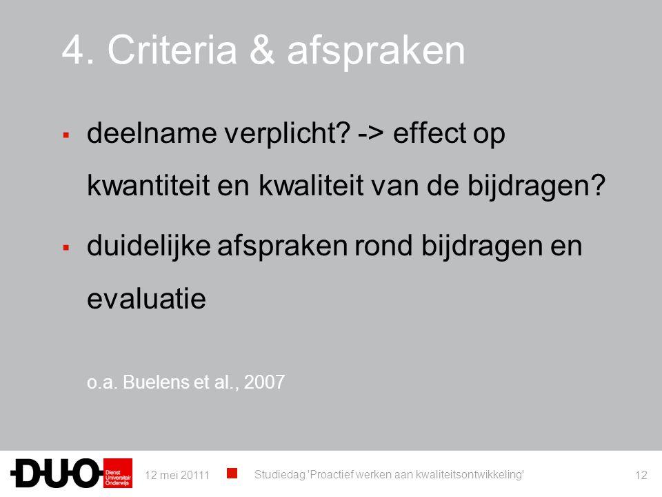 4. Criteria & afspraken deelname verplicht -> effect op kwantiteit en kwaliteit van de bijdragen duidelijke afspraken rond bijdragen en evaluatie.