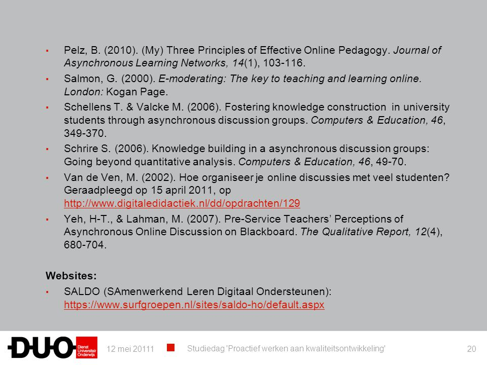 Pelz, B. (2010). (My) Three Principles of Effective Online Pedagogy
