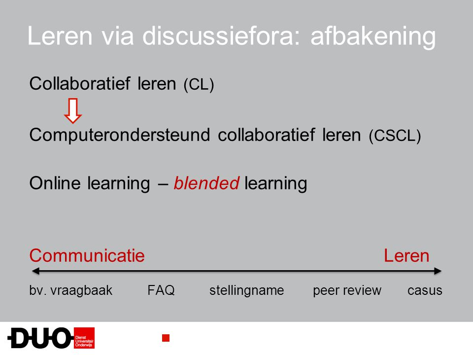 Leren via discussiefora: afbakening