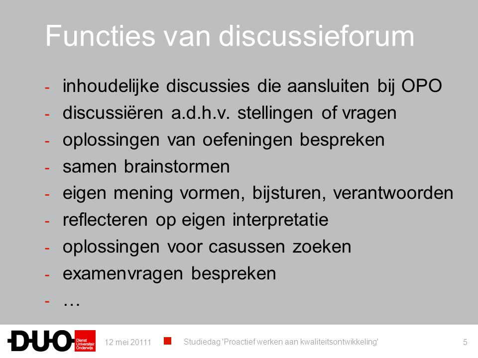 Functies van discussieforum