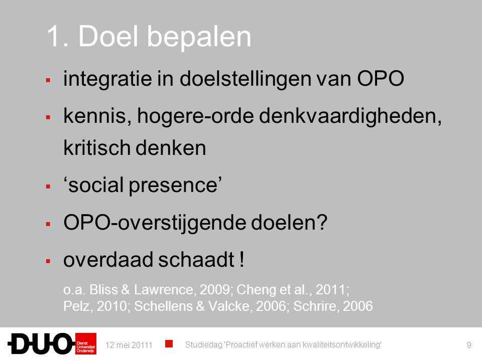 1. Doel bepalen integratie in doelstellingen van OPO