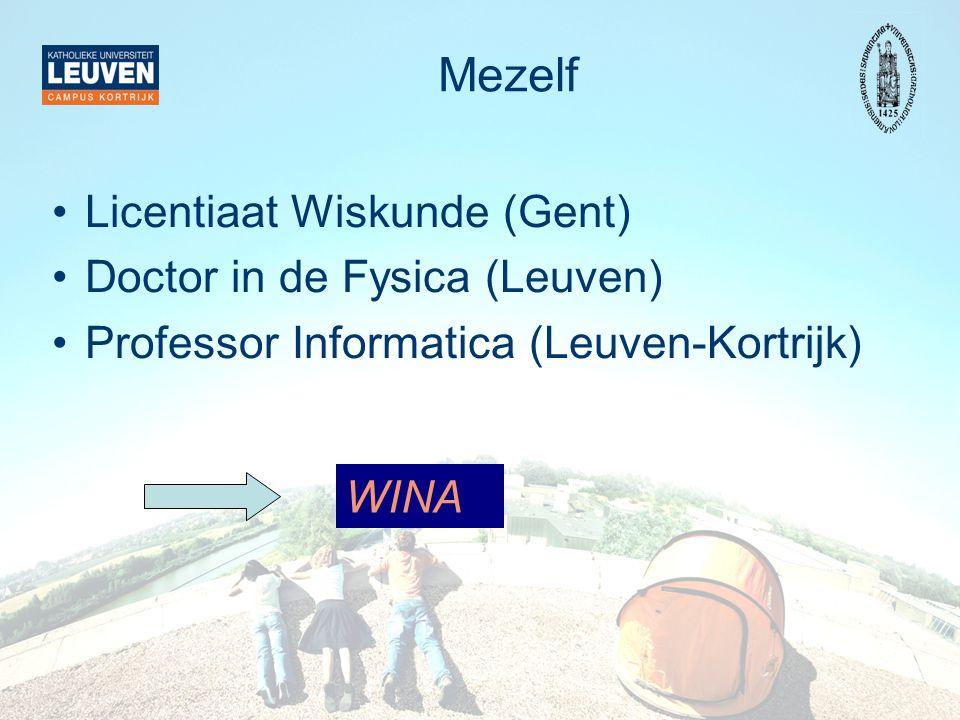 Mezelf Licentiaat Wiskunde (Gent) Doctor in de Fysica (Leuven)