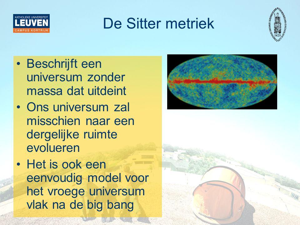 De Sitter metriek Beschrijft een universum zonder massa dat uitdeint