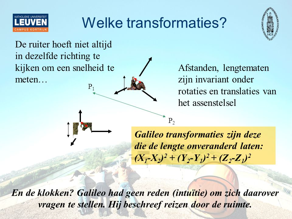 Welke transformaties De ruiter hoeft niet altijd in dezelfde richting te kijken om een snelheid te meten…