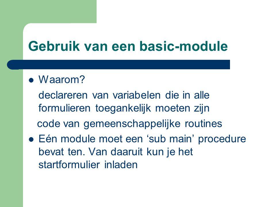 Gebruik van een basic-module