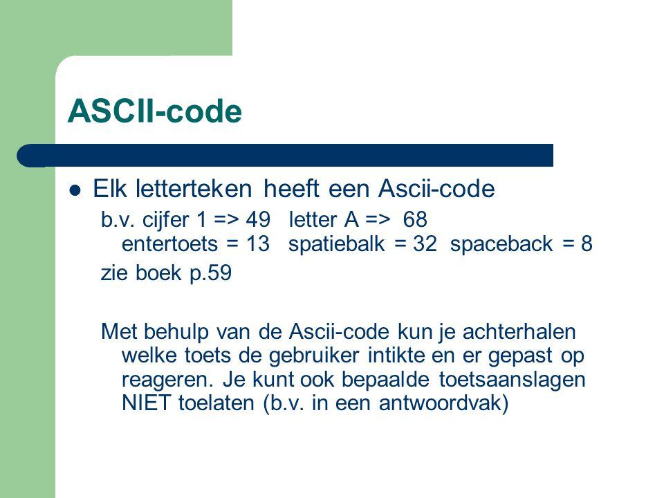 ASCII-code Elk letterteken heeft een Ascii-code