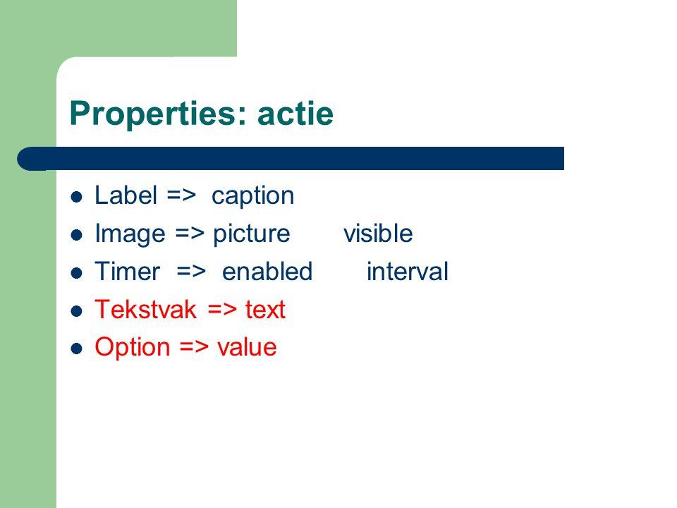 Properties: actie Label => caption Image => picture visible