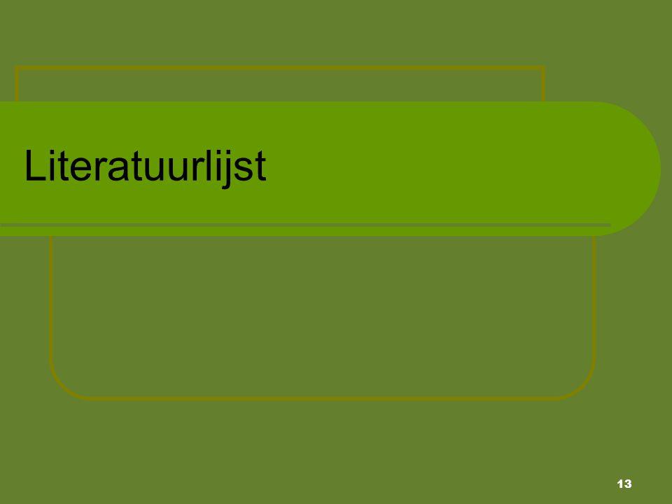 Literatuurlijst Literatuurlijst