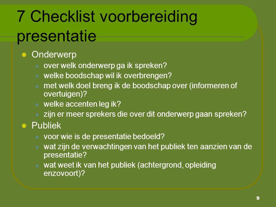 7 Checklist voorbereiding presentatie
