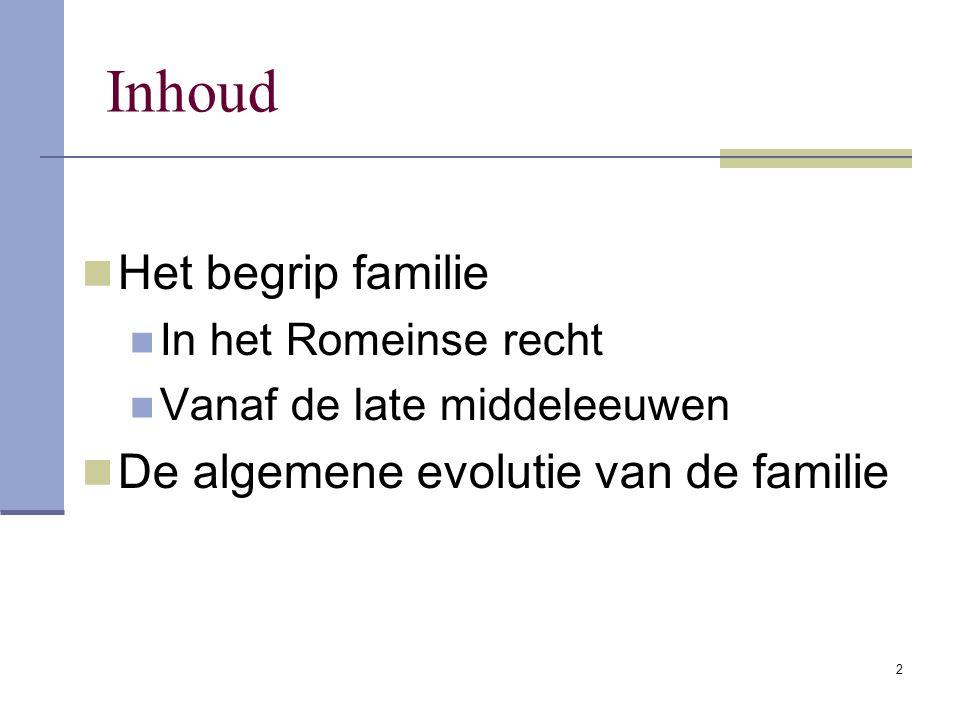 Inhoud Het begrip familie De algemene evolutie van de familie