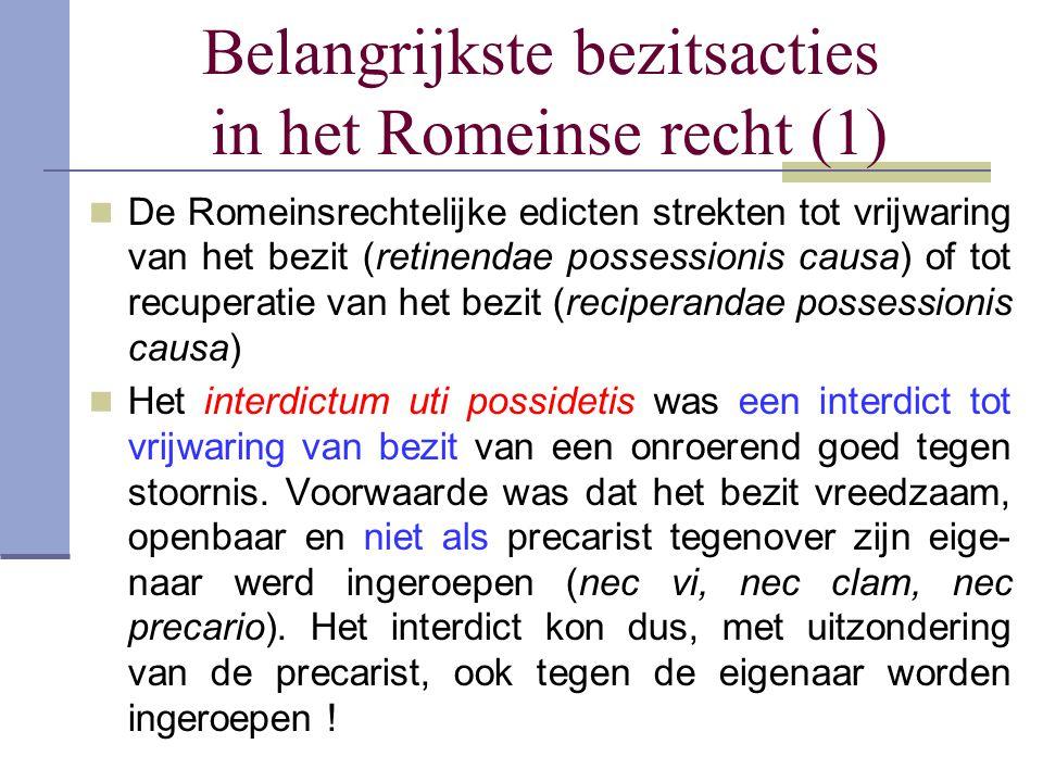 Belangrijkste bezitsacties in het Romeinse recht (1)