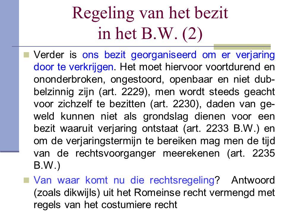 Regeling van het bezit in het B.W. (2)