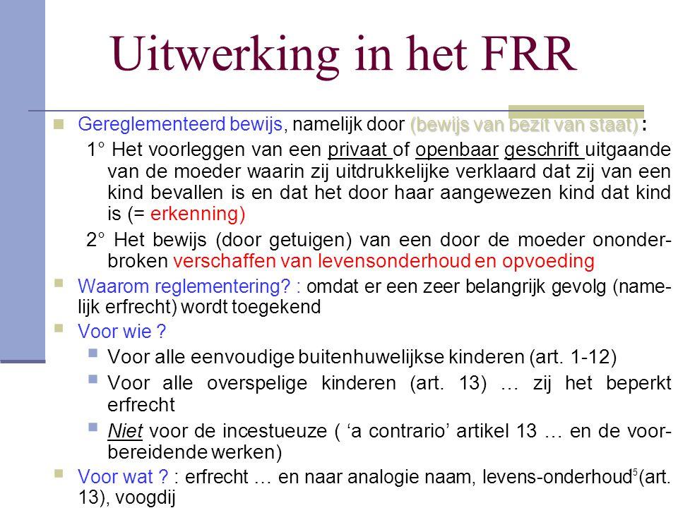 Uitwerking in het FRR Gereglementeerd bewijs, namelijk door (bewijs van bezit van staat) :