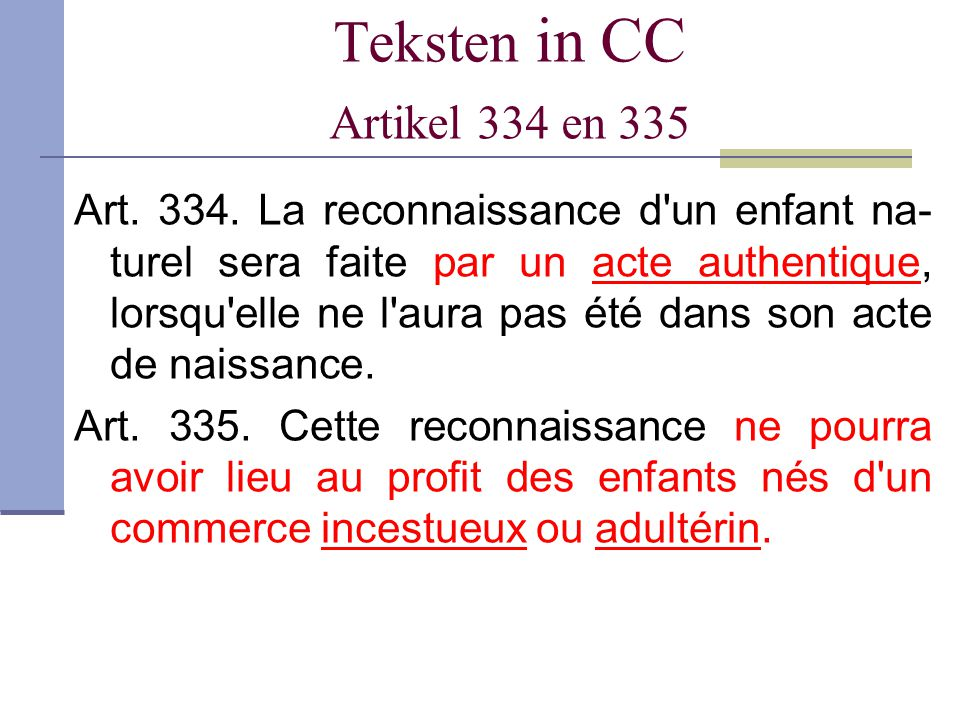 Teksten in CC Artikel 334 en 335