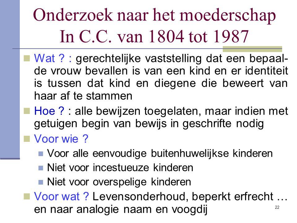 Onderzoek naar het moederschap In C.C. van 1804 tot 1987