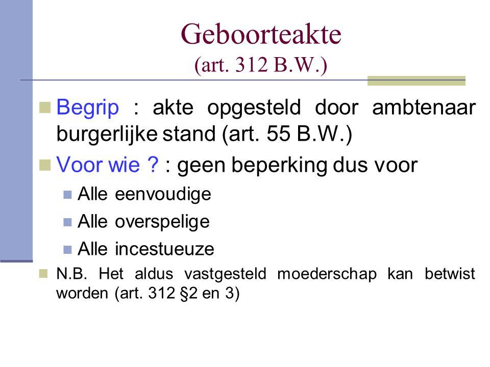 Geboorteakte (art. 312 B.W.) Begrip : akte opgesteld door ambtenaar burgerlijke stand (art. 55 B.W.)